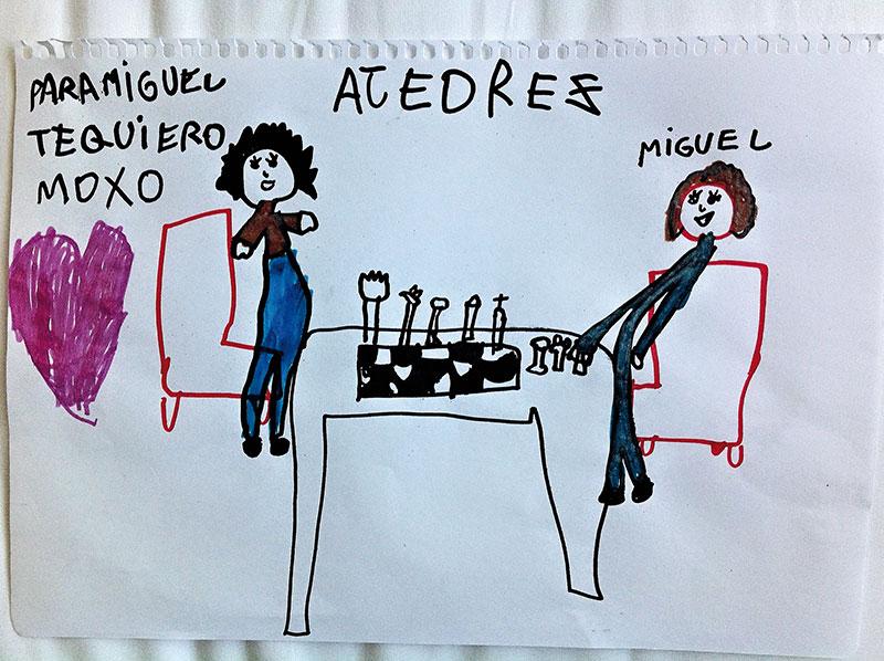 Dibujo de Diana Illescas a su papá