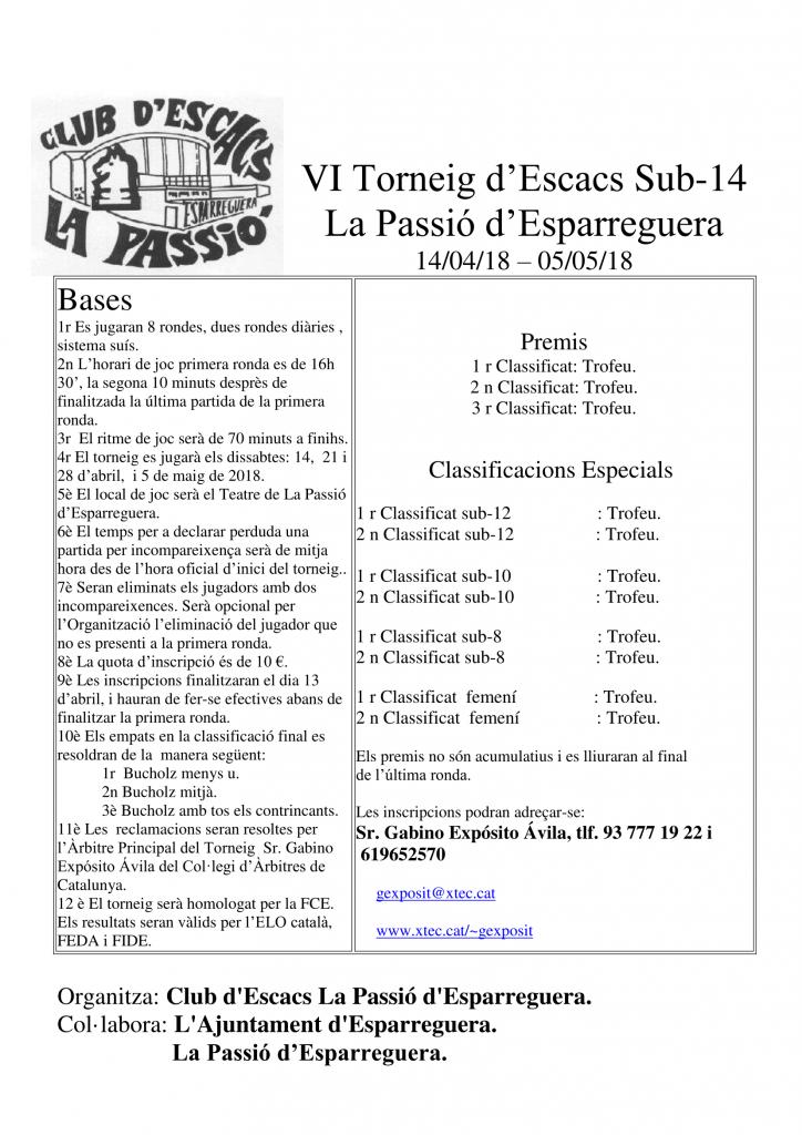 VI TORNEIG  SUB-14  LA PASSIÓ  D´ESPARREGUERA @ TEATRE LA PASSIO D´ESPARREGUERA