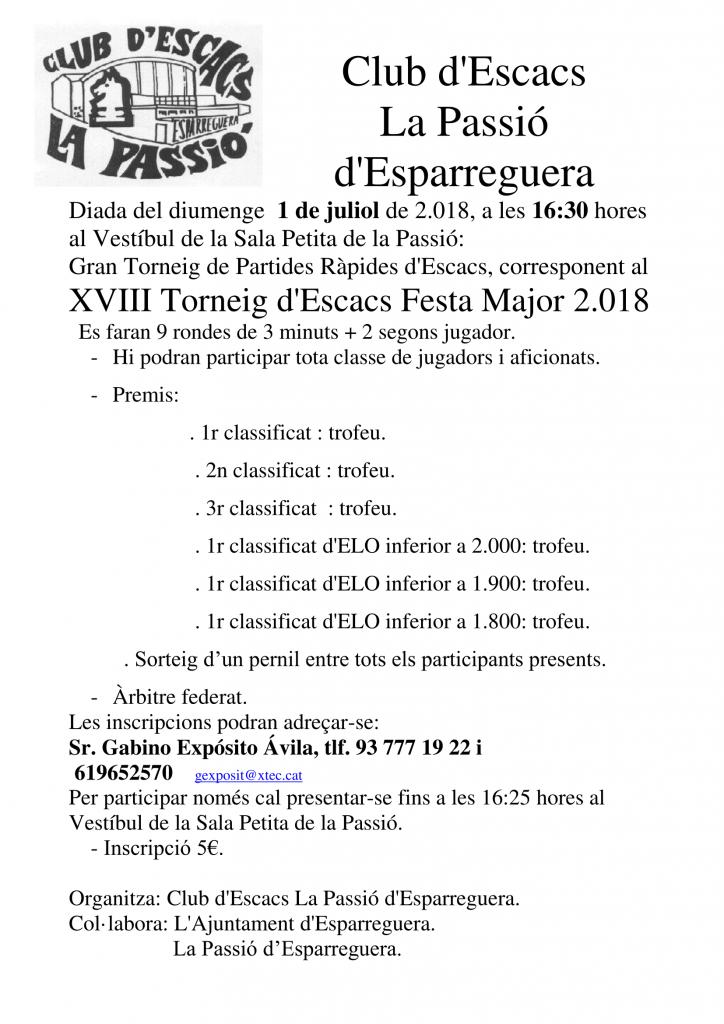 XVIII TORNEIG FESTA MAJOR LA PASSIO D´ESPARREGUERA @ TEATRE LA PASSIO D´ESPARREGUERA