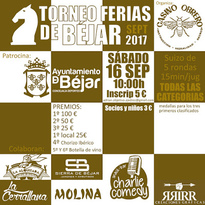 Cartel torneo de ajedrez ferias de Bejar septiembre 2017