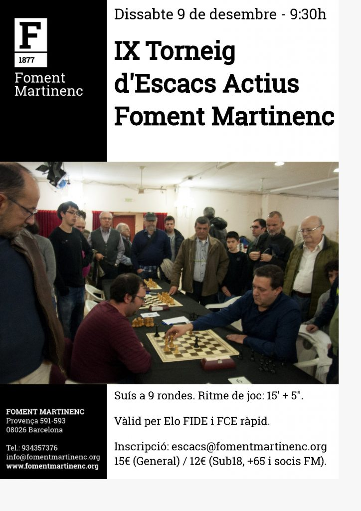 TORNEIG ESCACS ACTIUS FOMENT MARTINENC @ CLUB ESCACS FOMENT MARTINENC