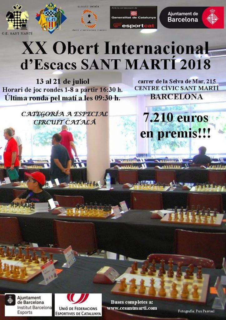 XX Obert Internacional Sant Martí 2018 @ Centre Civic Sant Marti
