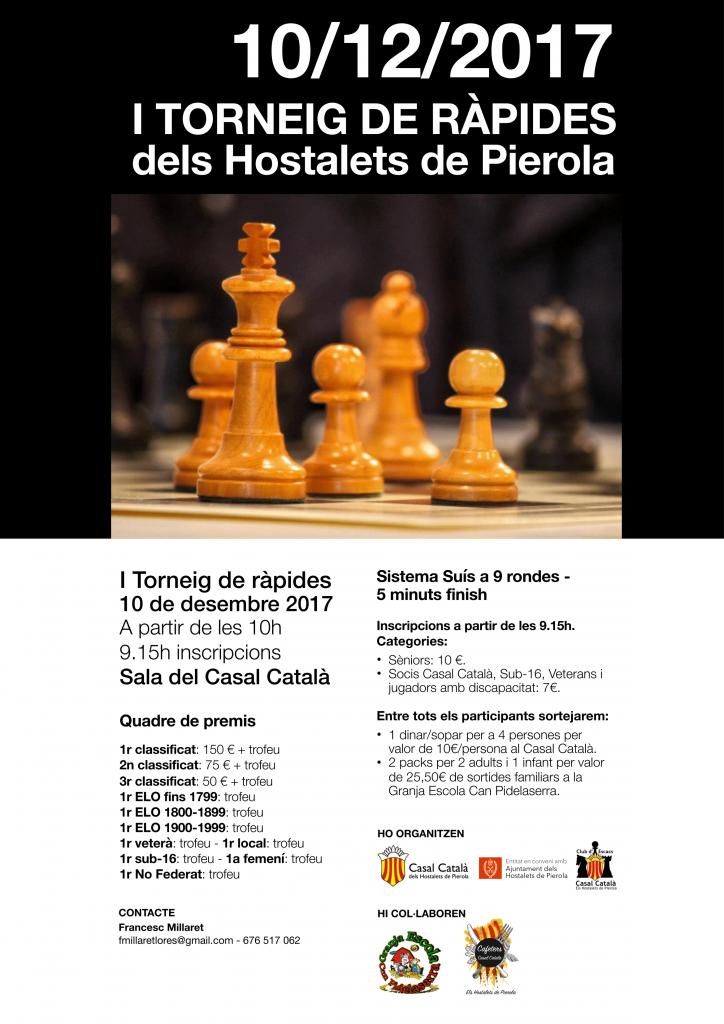 I TORNEIG DE RAPIDES  DELS HOSTALETS  DE PIEROLA @ Sala del Casal Català dels Hostalets de Pierola
