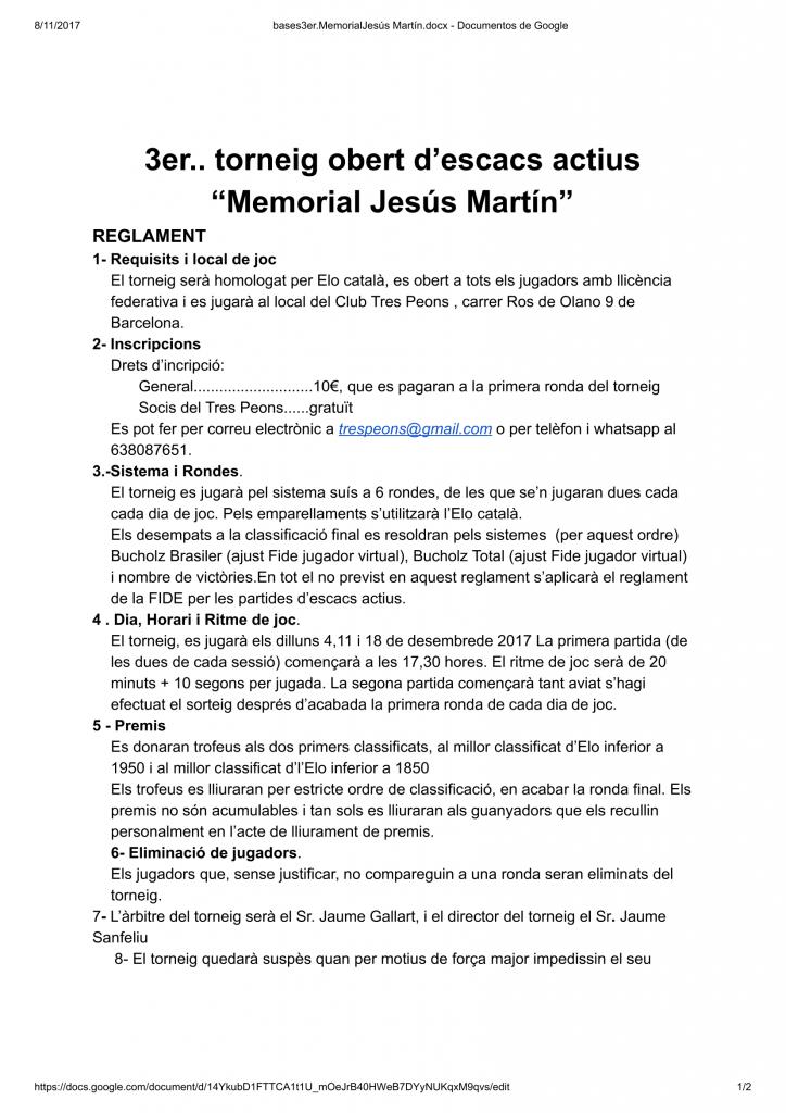 """3er. torneig obert d'escacs actius  """"Memorial Jesús Martín"""" @ Club Tres Peons"""