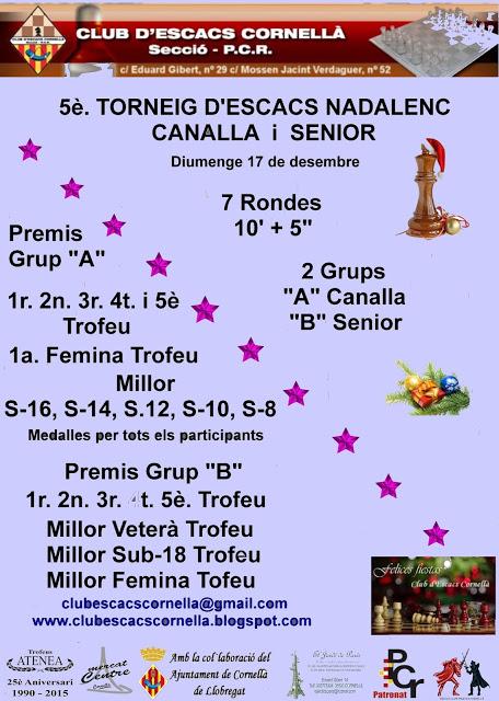 V Torneig Actiu Nadalenc 2017 @ Club d´escacs Cornella | Cornellà de Llobregat | Catalunya | España