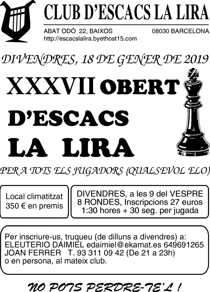 XXXVII Obert d'Escacs La Lira 2019 @ Club d'escacs La Lira | Barcelona | Catalunya | España