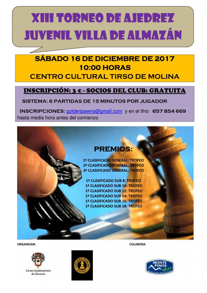 XIII TORNEO DE AJEDREZ JUVENIL VILLA DE ALMAZÁN @ CENTRO CULTURAL TIRSO DE MOLINA | Castilla y León | España