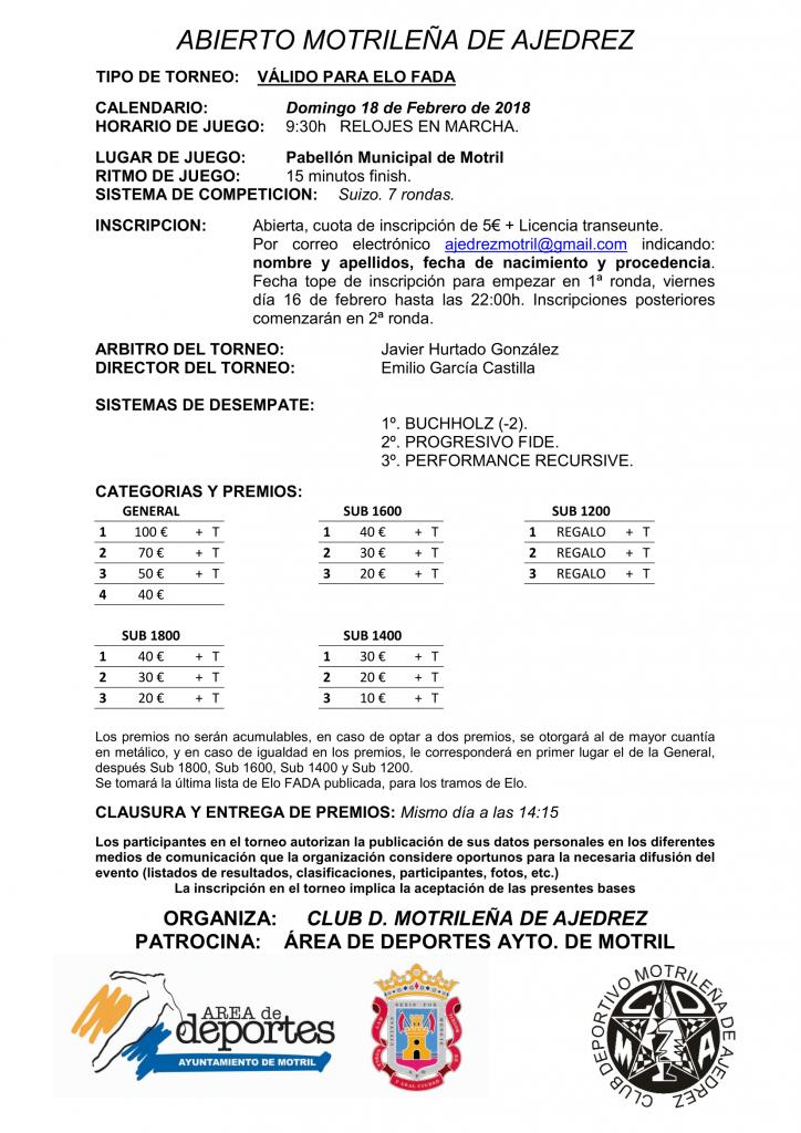 ABIERTO MOTRILEÑA DE AJEDREZ @ Pabellón Municipal de Motril   Motril   Andalucía   España