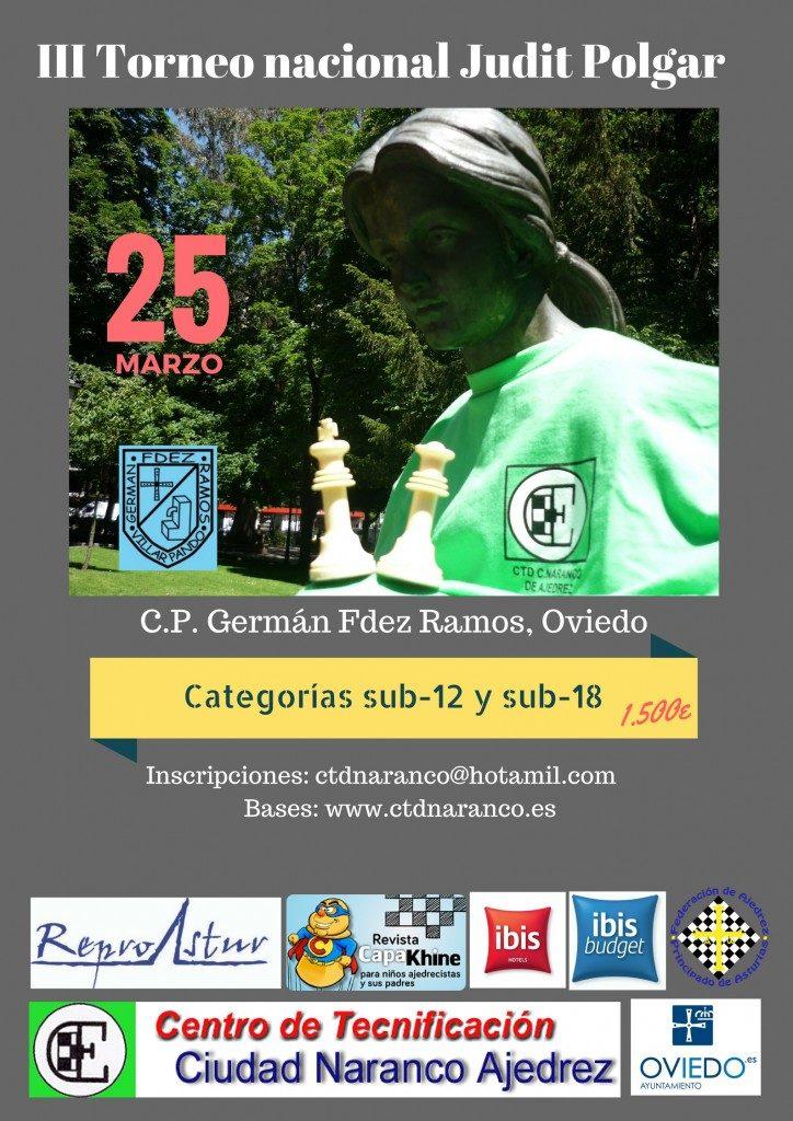 III TORNEO NACIONAL JUDIT POLGAR SUB12 Y SUB18 @ Colegio Público Germán Fernández Ramos | Oviedo | Principado de Asturias | España