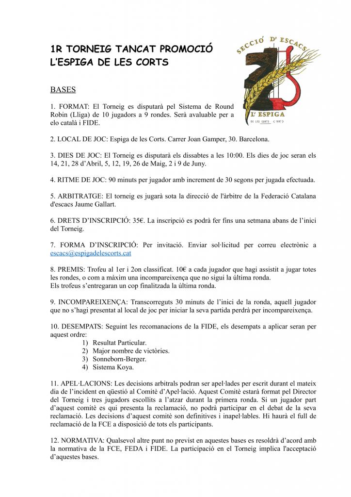 1R TORNEIG PROMOCIÓ ESPIGA LES CORTS @ Escacs Espiga Les Corts   Barcelona   Catalunya   España