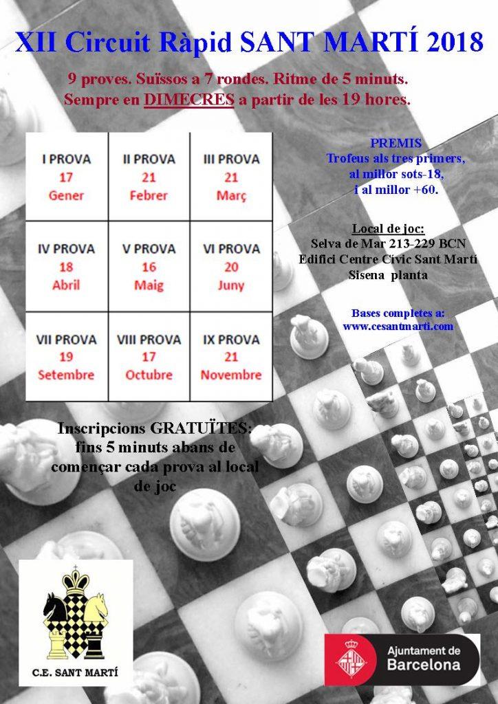 IX PROVA  XII CIRCUIT RAPID  SANT MARTI @ Centre Civic Sant Marti