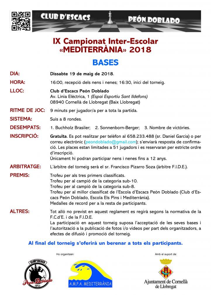 IX Campionat Inter-Escolar «Mediterrània» @ Club d'Escacs PEÓN DOBLADO