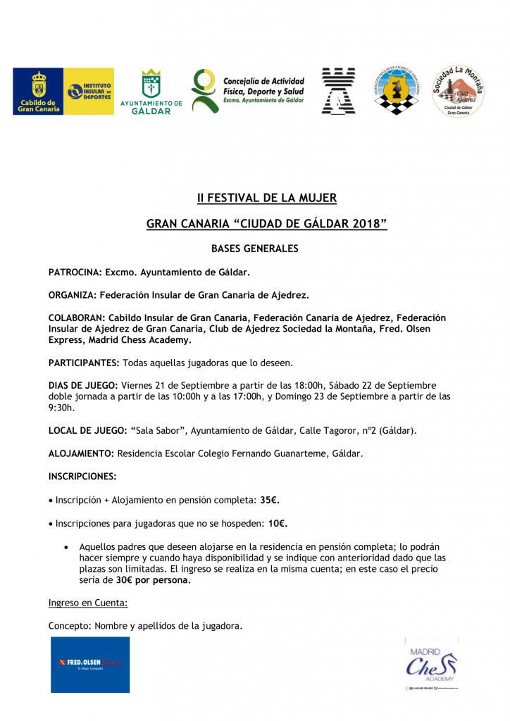 """II FESTIVAL DE LA MUJER  GRAN CANARIA """"CIUDAD DE GÁLDAR 2018"""" @ Sala Sabor"""