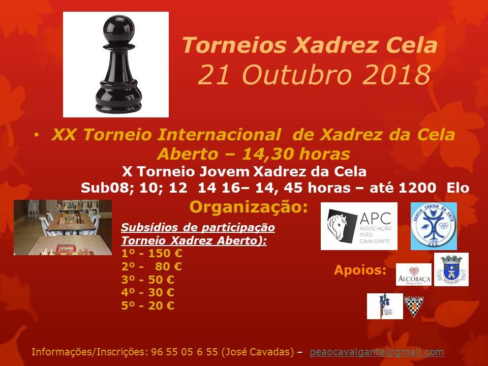 IX Torneio Jovem Sub08 a Sub16 de Xadrez da Cela @ Centro Cénico da Cela