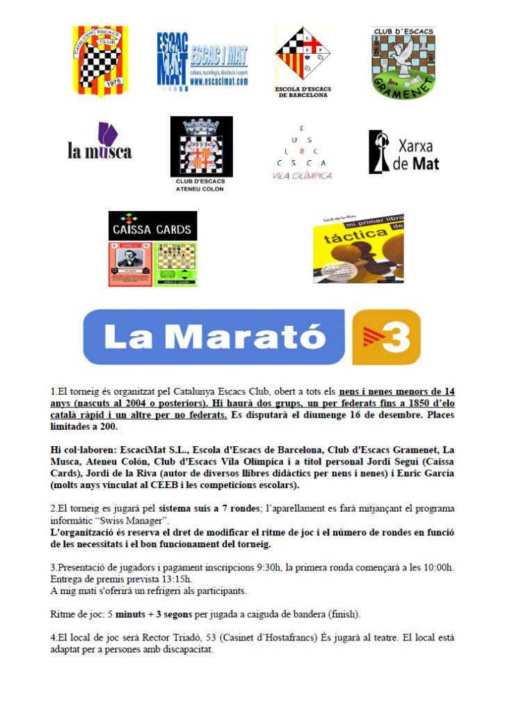 TORNEIG INFANTIL DE LA MARATÓ DE TV3 @ Casinet d´Hostafrancs